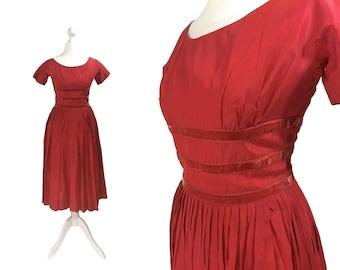 1960's Teena Paige Fashions Dress   Vintage Party Dress   Red Taffeta Dress   60's Cocktail Dress   Teen Fashions