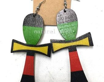 Red Black Green Yellow Ankh Earrings