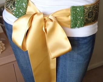Gold and Green Vintage Sari Trim Belt with Yellow Satin Ribbon Ties