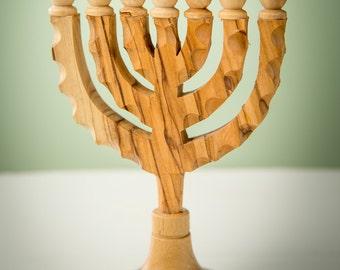 MS17/Menorah/Olive Wood/Holy Land/Handmade/Prayer/Encouragement Gift