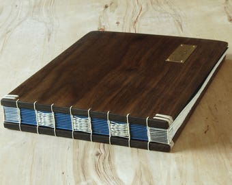wood guest book -black walnut - custom fall wedding personalized fall blue brown rustic memorial cabin retirement keepsake - made to order
