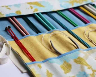 Knitting Needle Organizer, Knitting Needle Case, Knitting Needle Roll, Vintage Floral Accessory by Knotted Nest