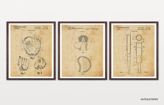 Softball Patent Art - Softball Art - Softball Poster - Softball Decor - Softball Wall Art - Softball Glove - Softball Bat - Softball Team