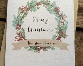 Custom Wreath Merry Christmas Cards / Happy Holidays Cards / Holiday Cards / Greeting Cards