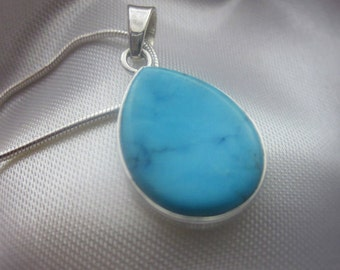 Oval, Genuine Turquoise, Silver Pendant Necklace