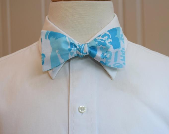 Men's Bow Tie, La Via Loca aqua & turquoise  Lilly print, groomsmen's gift, wedding bow tie, groom bow tie, Kentucky Derby tie. blue bow tie