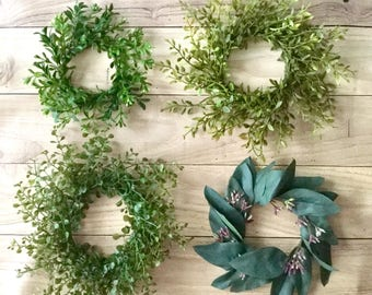 Tiny Boxwood Wreath, Mini Eucalyptus Wreath, Candle Ring Wreath, Artificial Boxwood Wreath, Boxwood Decor