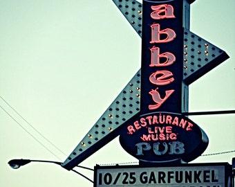 Chicago Photography, Chicago Photo, Chicago Art, Chicago Music, vintage neon boomerang sign, mid century, atomic, Chicago music, pub, Folk