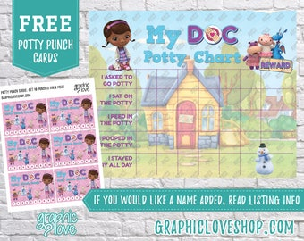 Printable Doc McStuffins Potty Training Chart, FREE Punch Cards | Disney Junior | Digital JPG Files, Instant download, Files NOT Editable