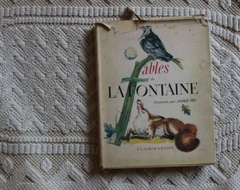 Book fables of La Fontaine 1952 illustrations André PEC book for classic French literature child France
