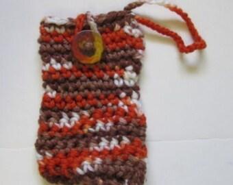 Orange and Brown Cell Phone Tote, Cellphone Case, Wrist Strap, Camera Tote, Case, Crochet, Handmade, Yarn Accessory Case, Small Tote, Bag