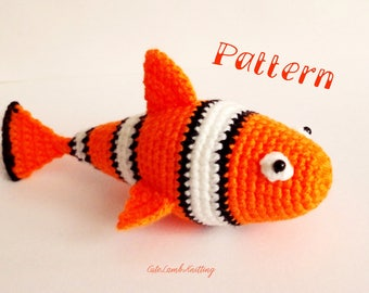 Crochet pattern, crochet clown fish pattern, crochet clown fish, crochet clownfish, amigurumi pattern, crochet plush animal crochet animals