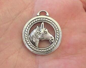 2 x Horse Head Charm Pendants Round Antique Silver 28mm x 25mm