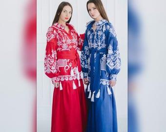 Vita Kin style Ukrainian embroidered Dress Vyshyvanka Boho Style Natural Linen Fabric Riders