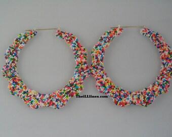 2 1/2 inch Candy Sprinkle Bamboo Hoops   Sprinkles