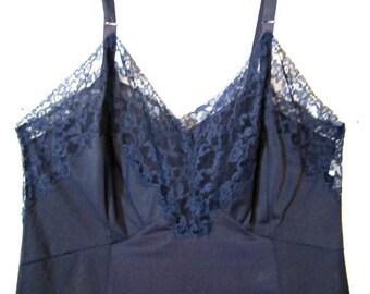 Vintage full slip, Blue Nylon Slip, Womens lingerie