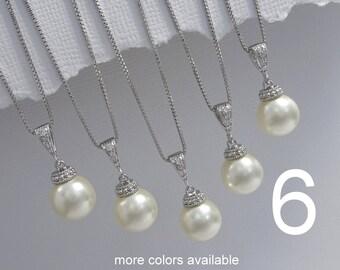 Set of 6 Bridesmaid Necklaces, Bridesmaid Gift, Wedding Necklace, Swarovski Necklace, Bridal Party Gift, Bridesmaid Necklaces Set of 6