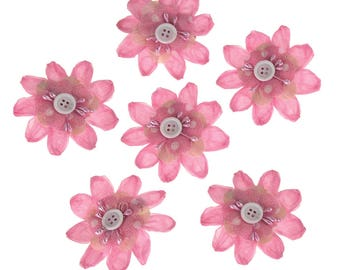 Paper Flower Clothespins Embellishment, 3-Inch, 6-Count