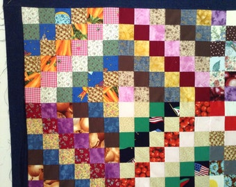 UNfinished Quilt Top, Scrappy Trip Around the World, Baby Quilt Top, Crib Quilt Top, Quilted Table Topper, Dog Quilt Top