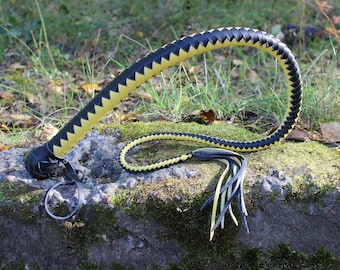 Black & Yellow BDSM Leather Whip