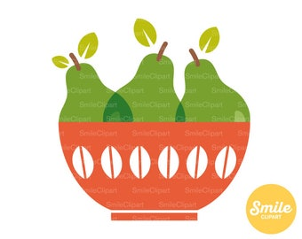 Pears in a Bowl Clipart Illustration for Commercial Use