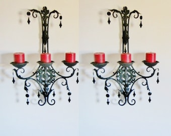 PAIR 2 PIllar Gothic Midnight Black Large Wall Sconces MADE To ORDER
