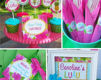 LUAU Party Package - Watercolor Luau Collection