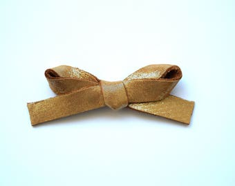 Sunkissed Metallic LARGE Leather Bow Adorable Photo Prop for Newborn Baby Little Girl Child Adult Neutral Brown Gold Headwrap Pretty Clip