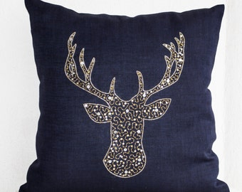 Navy Pillow, Stag Embroidered Gold Silver Sequin, Linen pillows, Navy Blue Pillows, Housse Coussin Cerf, Navy Deer Pillow Navy Linen Cushion