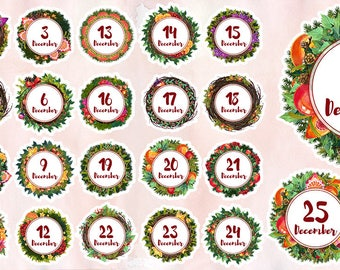 Printable Advent Calendar Stickers for Bullet Journals and Planners,December days stickers, Christmas stickers, planner stickers,