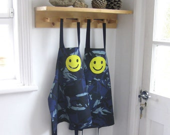 Childs Boys Girls Apron, Hand Appliquéd Jolly Yellow Smiley, Blue Camo. 3-6yrs