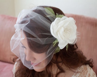 Bandeau Birdcage Veil with Flower White or Ivory