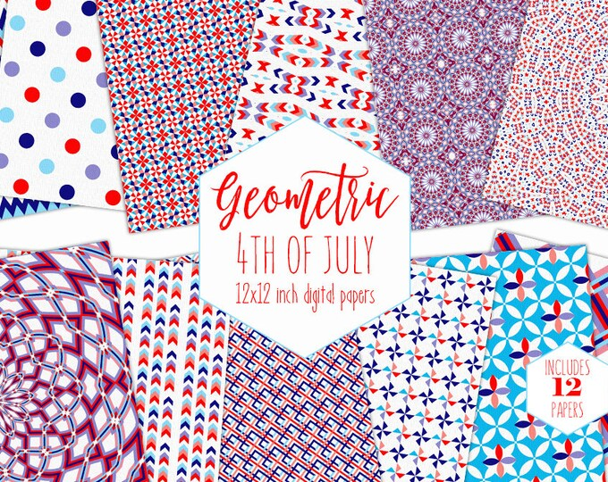 4th OF JULY Digital Paper Pack Red White & Blue Backgrounds Geometric Scrapbook Papers Plaid Patterns Party Printable Commercial Use Clipart