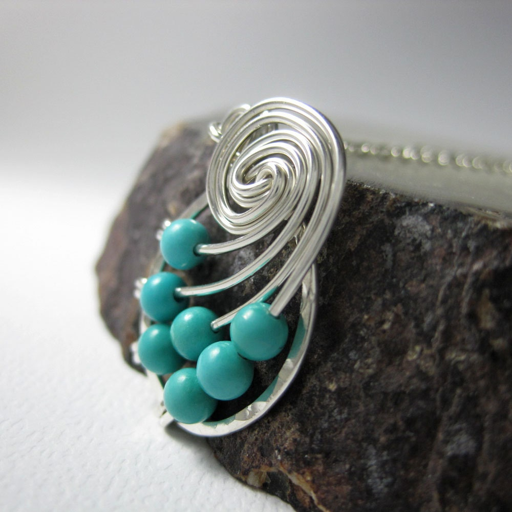 Genuine Turquoise Jewelry Fibonacci Nautilus Necklace Math