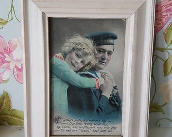 1940's Vintage Navy Nautical Little Boy Sepia Shabby Chic Antique Framed Postcard Wall Art Valentines Series