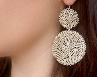 Silver Dangle Earrings, Statement Large Circle Round Earrings, Wire Crochet Handmade Earrings, Big Drop Earrings