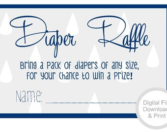 Navy Blue and Gray Baby Shower Diaper Raffle, Baby Shower Invitation, Invitation Insert, Digital Download