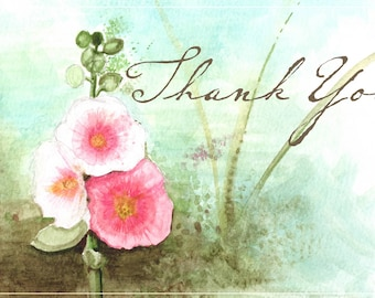 Hollyhock Thank You Card