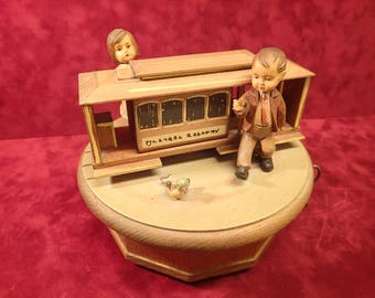 Vintage ANRI Wood Carved Reuge Music Box, Made in Italy, Swiss Movement, plays I Lost My Heart In San Francisco, Rare ANRI Music Box