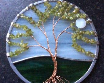 Peridot tree of life suncatcher