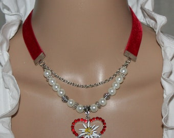 Traditional Velvet Red Chain Beads with Heart Edelweiss Pendant