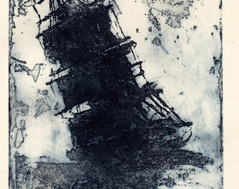 Dark Blue Ship in Distress, on Creamy Strathmore Rag paper
