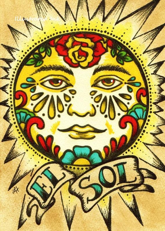 Mexican Folk Art Sun EL SOL Loteria Print 5 x 7 8 x 10 or 11