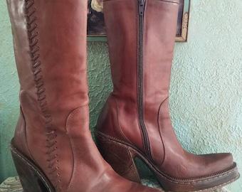HEX Hippie Boho Italian Vintage 70s Leather Platform Mid Century Boots