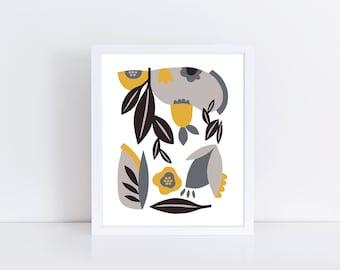 Scandinavian poster, minimalist print, mid century modern art, colorful wall art, flowers, leaves, yellow, grey, black, scandinavian print