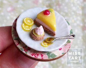 Miniature lemon cheesecake ring / dollhouse miniature /fake  food jewelry