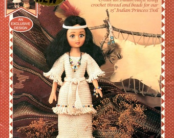 Indian Princess Crocheted Fifteen 15 Inch Doll Outfit Dress Costume Native American Long Dress Beads Necklace Headdress Craft Leaflet FCM442