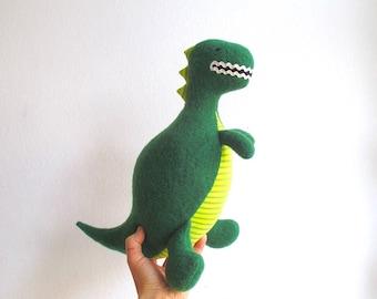 Organic dinosaur, stuffed dinosaur toy, T-rex stuffed toy, plush dinosaur, tyrannosaurus rex, green, lime green, stripes, eco friendly, soft