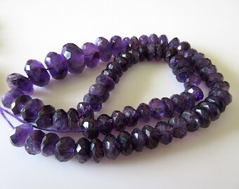 Amethyst Faceted Rondelles - 8 - 14 mm, 16 Inch Strand - Gemstone Beads - GDS 123