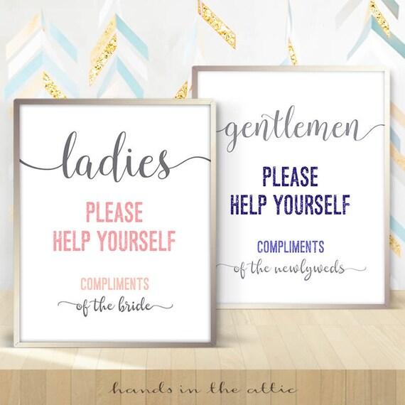 Hospitality basket bathroom wedding sign, ladies gents room, please help  yourself, gentlemen mens toilet washroom powder restroom DIGITAL